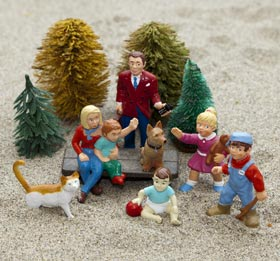 Sandplay display of a family.